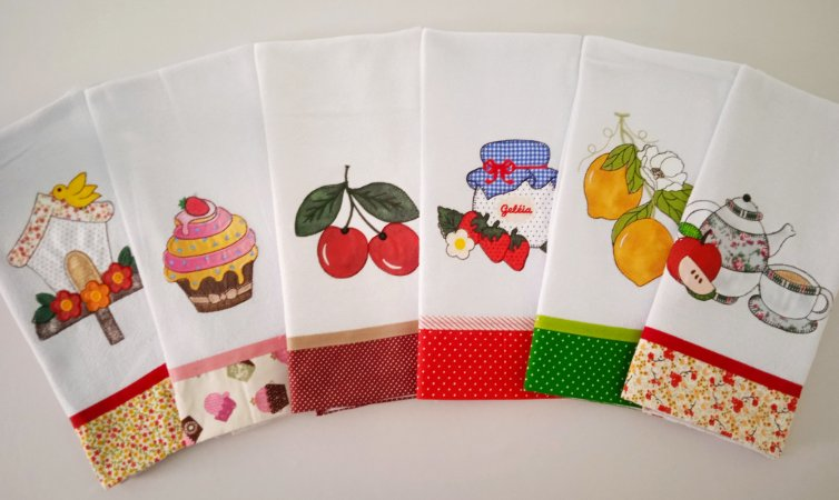 Panos de prato patchwork 6 unidades - kit 02