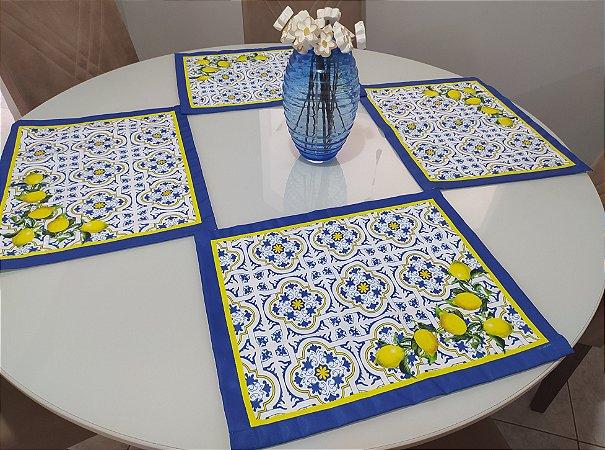Jogo  Americano + Guardanapos (4 lugares)- Azul limão