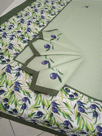 Toalha de Mesa Rebeca (Azeitonas) - Tecido com Impermeabilidade