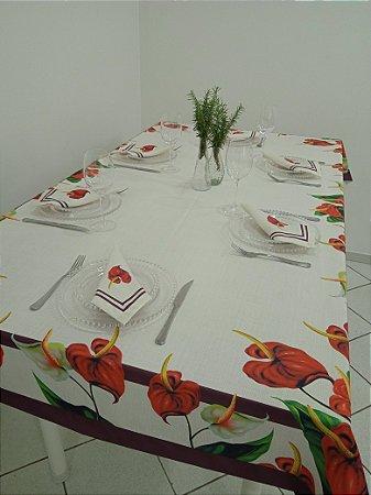 Toalha de Mesa Claúdia (antúrios) - Linho