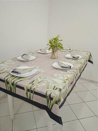 Toalha de Mesa Flávia (Flor copo de leite) - Linho
