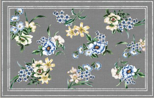 Toalha de Mesa  Floral cinza - Tecido com Impermeabilidade