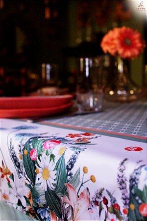 Toalha de Mesa Barrado de flores - Tecido com Impermeabilidade