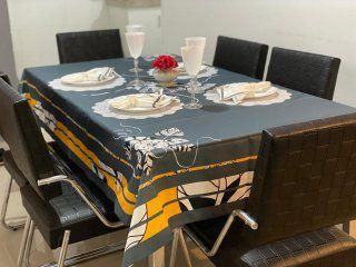Toalha de Mesa  Grafite Ibisco - Tecido com Impermeabilidade