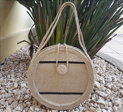 Bolsa circlebag juta / sisal com detalhe metalizado ouro light