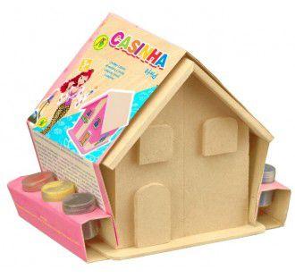 Pinta e Brinca casinha com mini móveis e adesivos