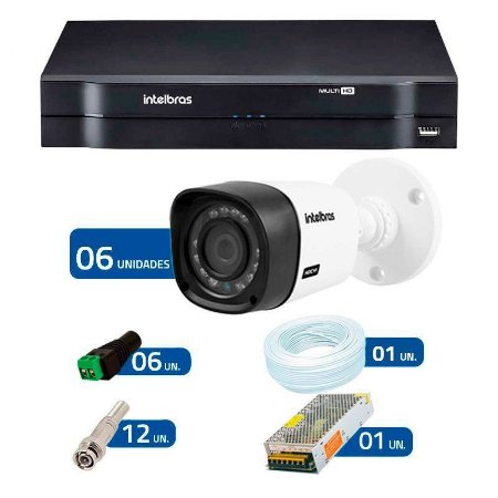 Kit 6 Câmeras de Segurança HD 720p Intelbras VHD 1010B G4 + DVR Intelbras Multi HD + Acessórios