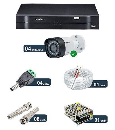 Kit 4 Câmeras de Segurança HD 720p Intelbras VHD 1010B G4 + DVR Intelbras Multi HD + Acessórios