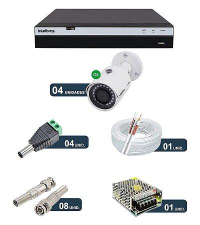 Kit 4 Câmeras de Segurança FULLHD 1080p Intelbras VHD 3230B G4 + DVR Intelbras Multi HD + Acessórios