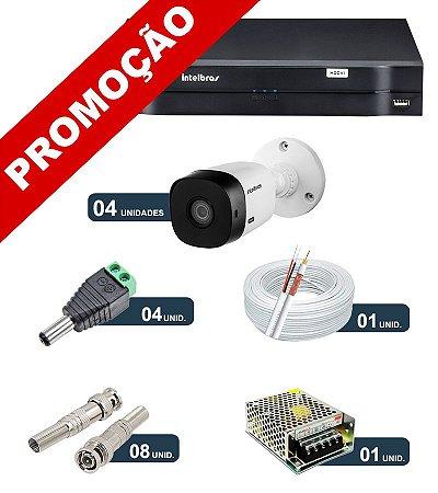 Kit 4 Câmeras de Segurança HD 720p Intelbras VHL 1120B G4 + DVR Intelbras Multi HD + Acessórios
