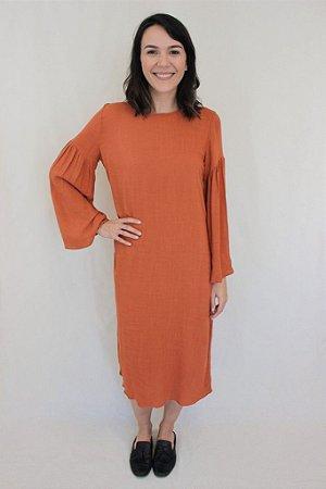 003 - Molde de vestido reto com manga franzida