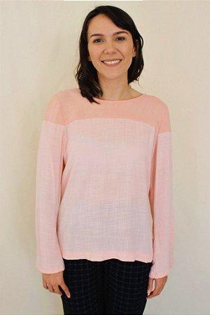 004 - Molde de blusa com pala e manga levemente boca de sino