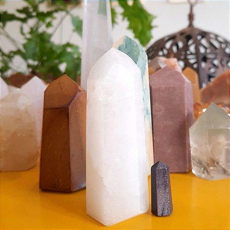 Cristal de Ponta Gerador Quartzo Leitoso ou Quartzo Branco