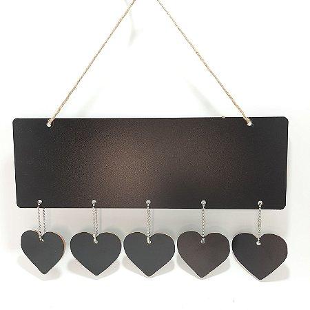 Placa Decorativa Quadro Negro Coração
