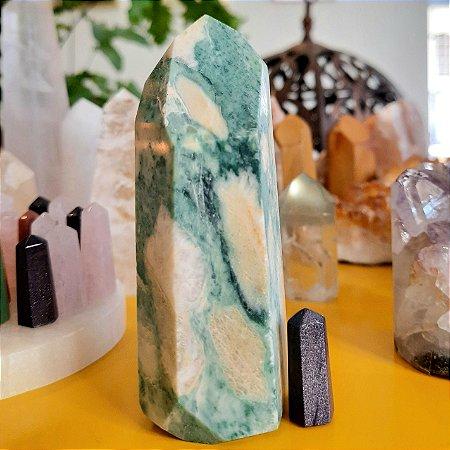 Cristal de Ponta Gerador Jade Verde