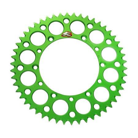 Coroa Renthal Alumínio KX 85 00/15 + KX 100 00/15 - 420x50 Dentes - Verde