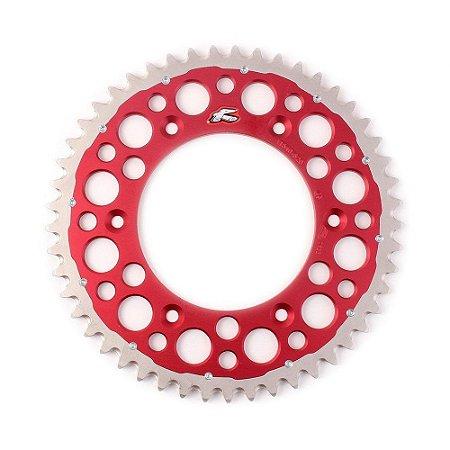 Coroa Renthal Twinring Trimetal CRF 230 + CRF 250 + CRF 450 + CR 125 + CR 250 - 520x49 Dentes - Vermelha