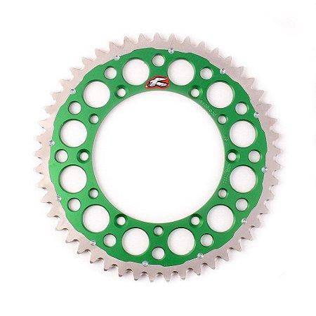Coroa Renthal Twinring Trimetal KXF 250 + KXF 450 + KX 125 + KX 250 - 520x49 Dentes - Verde