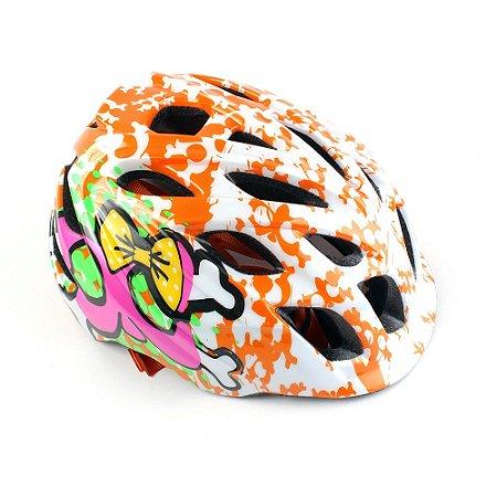 Capacete Bike Kali Chakra Infantil Dots (48-54cm) - Laranja/Rosa