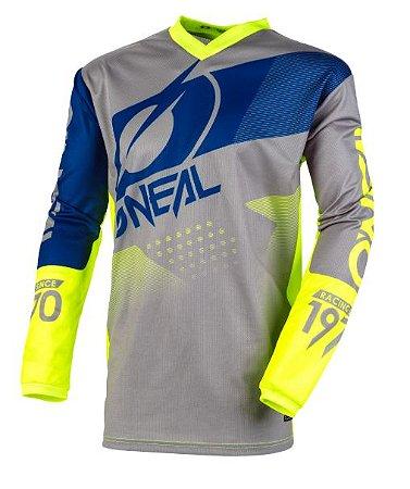 Camisa ONEAL Element Factor - Cinza/Azul/Amarela