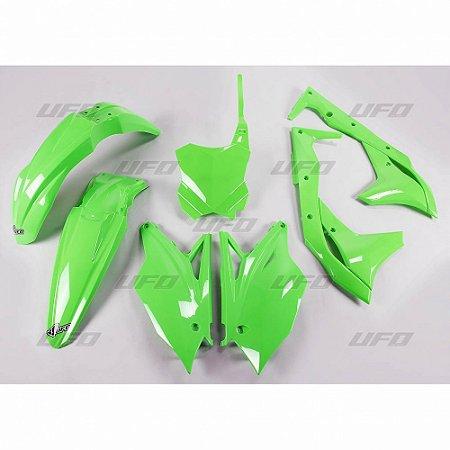 Kit Plástico Ufo KXF 250 17 - Verde Fluo (Com Number Frontal)