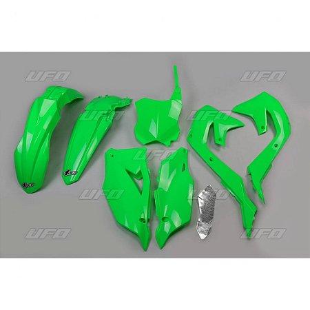 Kit Plástico Ufo KXF 450 19/20 Verde Fluo - Completo (Sem Protetor De Bengala)