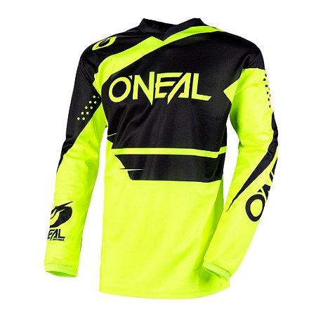 Camisa ONEAL Element Racewear - Preta/Amarela Neon
