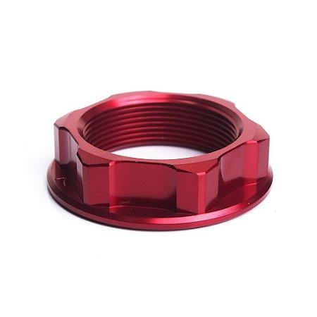 Porca para Coluna de Direção BR Parts CRF 250 R/X 04/14 + CRF 450 R/X 04/14 + CR 125 + CR 250 - Vermelho