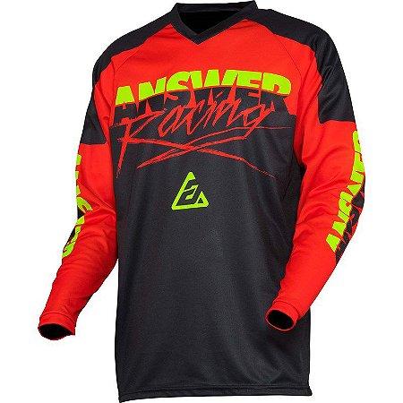 Camisa Answer Syncron Pro Glo - Vermelho/Preto/Verde - G