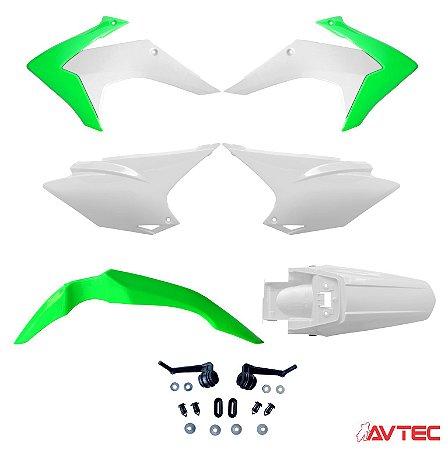 Kit Plástico AVTEC CRF 230 2015 Completo (Adaptável 2008/2018) - Verde/Branco