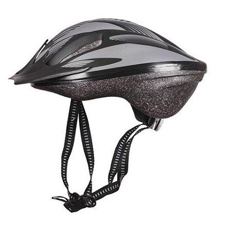Capacete Bike Poker Out Mold Windstorm Com Led - Preto/Cinza