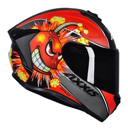 Capacete Axxis Draken Bomb Matte - Preto/Vermelho