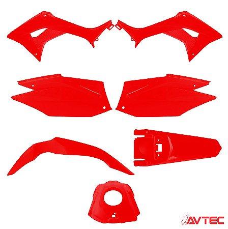 Kit Plástico AVTEC CRF 250F 2019 - Vermelho/Vermelho