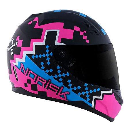 Capacete Norisk FF391 Stunt Pixel Matte - Preto/Azul/Rosa