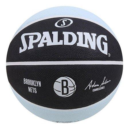 Bola De Basquete Spalding - NBA Brookling Nets - Borracha - Preta/Azul