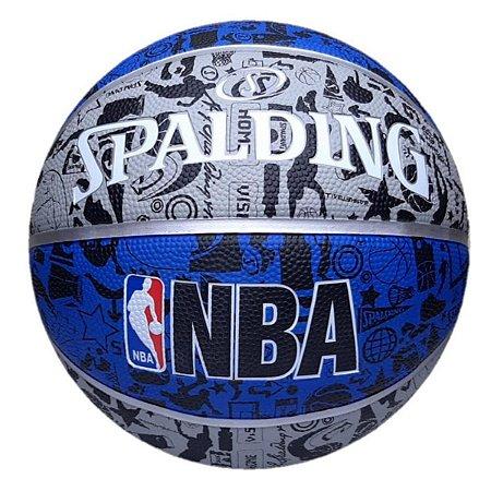 Bola De Basquete Spalding - NBA Graffiti - Borracha - Cinza/Azul