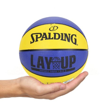 Mini Bola De Basquete Spalding LAY UP - Borracha - Amarela/Azul