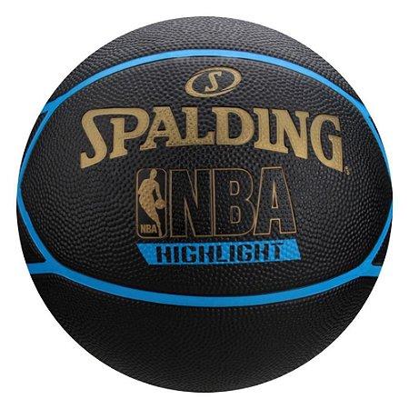 Bola De Basquete Spalding Highlight - Borracha - Azul/Dourado