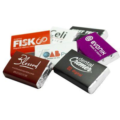 Tablete de Chocolate Liso + Invólucro Personalizado - 5,0 x 3,0  x 0,5 cm