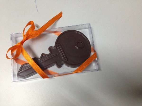 Caixa transparente chave de chocolate + Tag