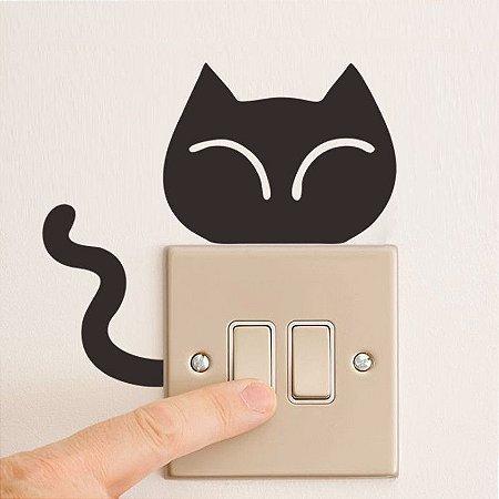 Adesivo de parede interruptor gato