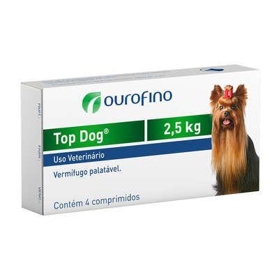 Vermifugo Ouro Fino Top Dog para Cães de até 2.5kg - 4 Comprimidos