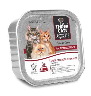 RAÇÃO HERCOSUL THREE CATS PATÊ PALADAR EXIGENTE - CARNE