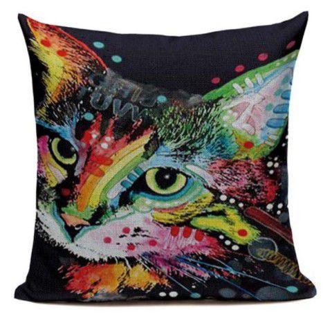 Capa de almofada gato colors