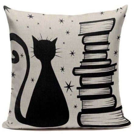 Capa de almofada gato e livros