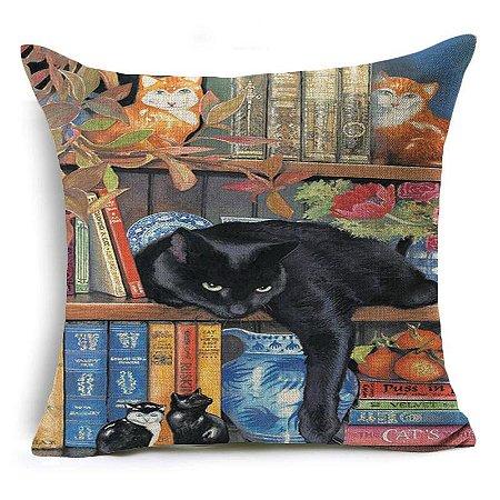 Capa de almofada gato estante de livros
