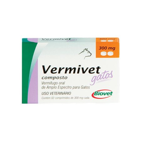 Vermífugo Vermivet Biovet 300 mg para Gatos - 2 Comprimidos