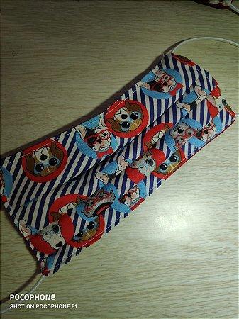 Máscara reutilizável em tecido dogs navy