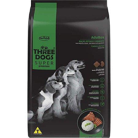 Ração Seca Three Dogs Super Premium Carne e Arroz para Cães Adultos Raças Médias e Grandes