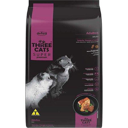 Ração Seca Three Cats Super Premium Salmão, Frango e Carne para Gatos Adultos